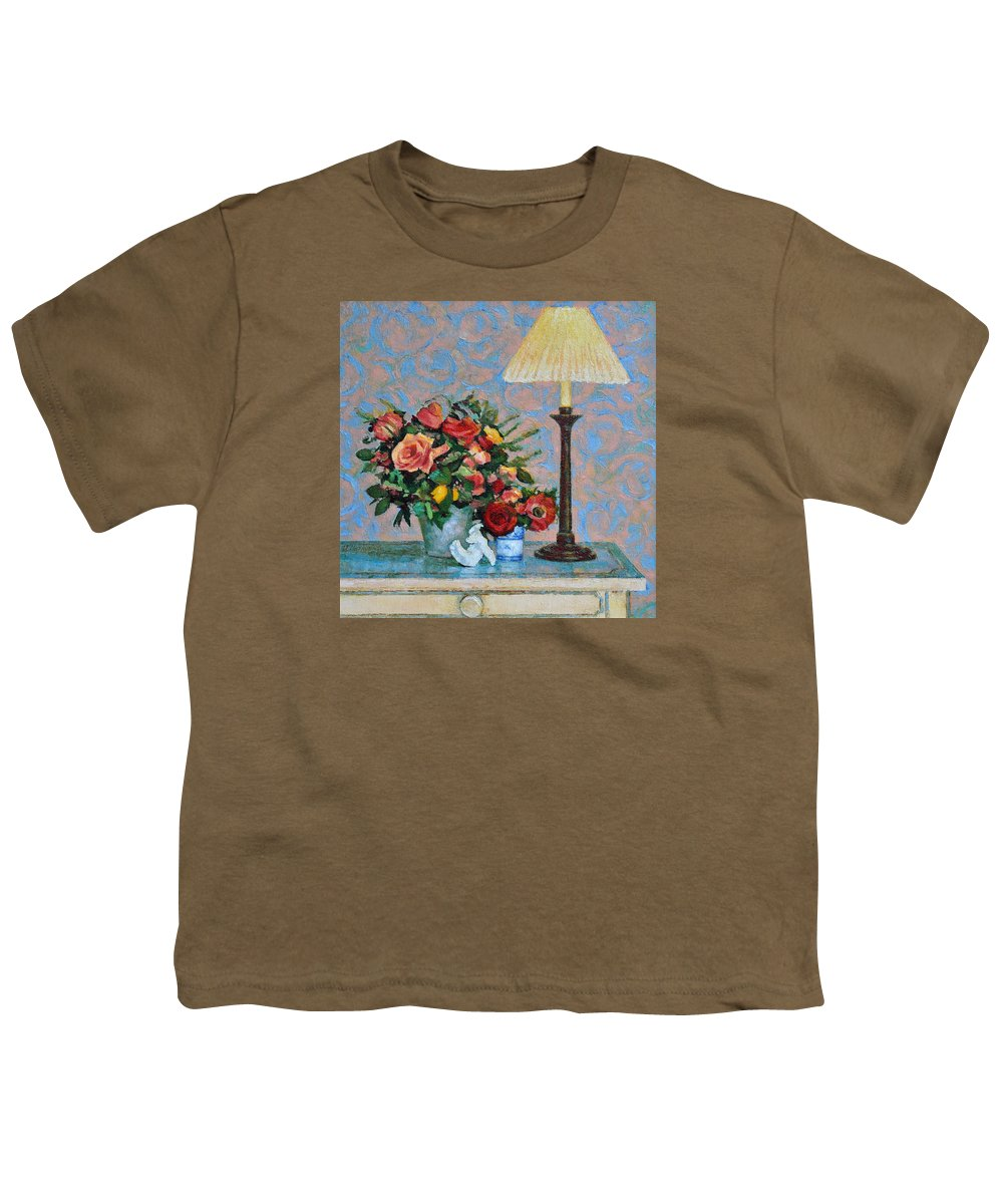 Flowers Youth T-Shirt featuring the painting Still Life With A Lamp by Iliyan Bozhanov