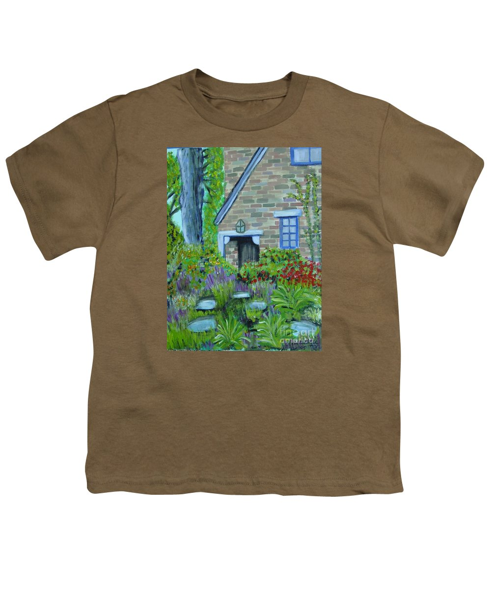 Cottage Youth T-Shirt featuring the painting Summer Retreat by Laurie Morgan