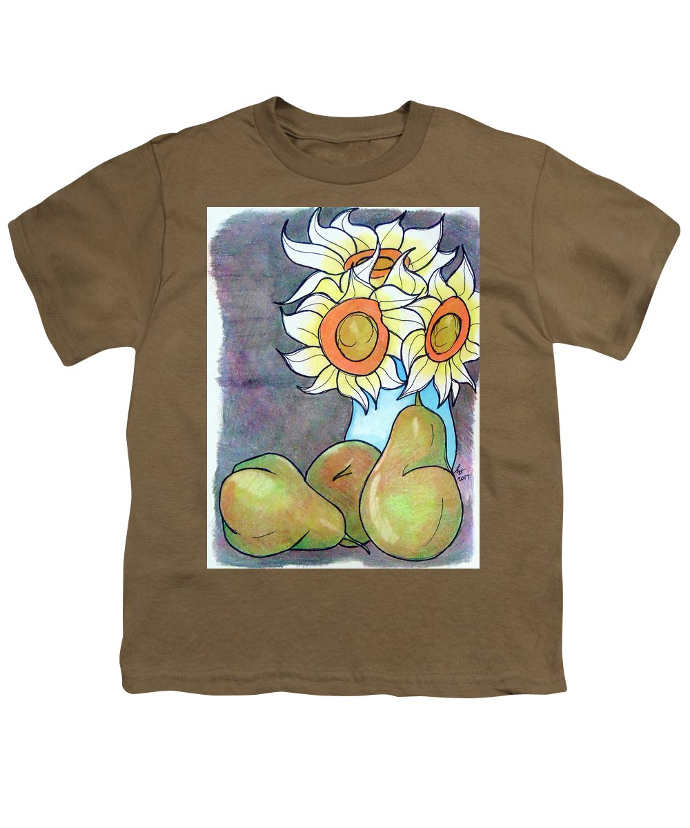 Sunflowers Youth T-Shirt featuring the drawing Sunflowers And Pears by Loretta Nash