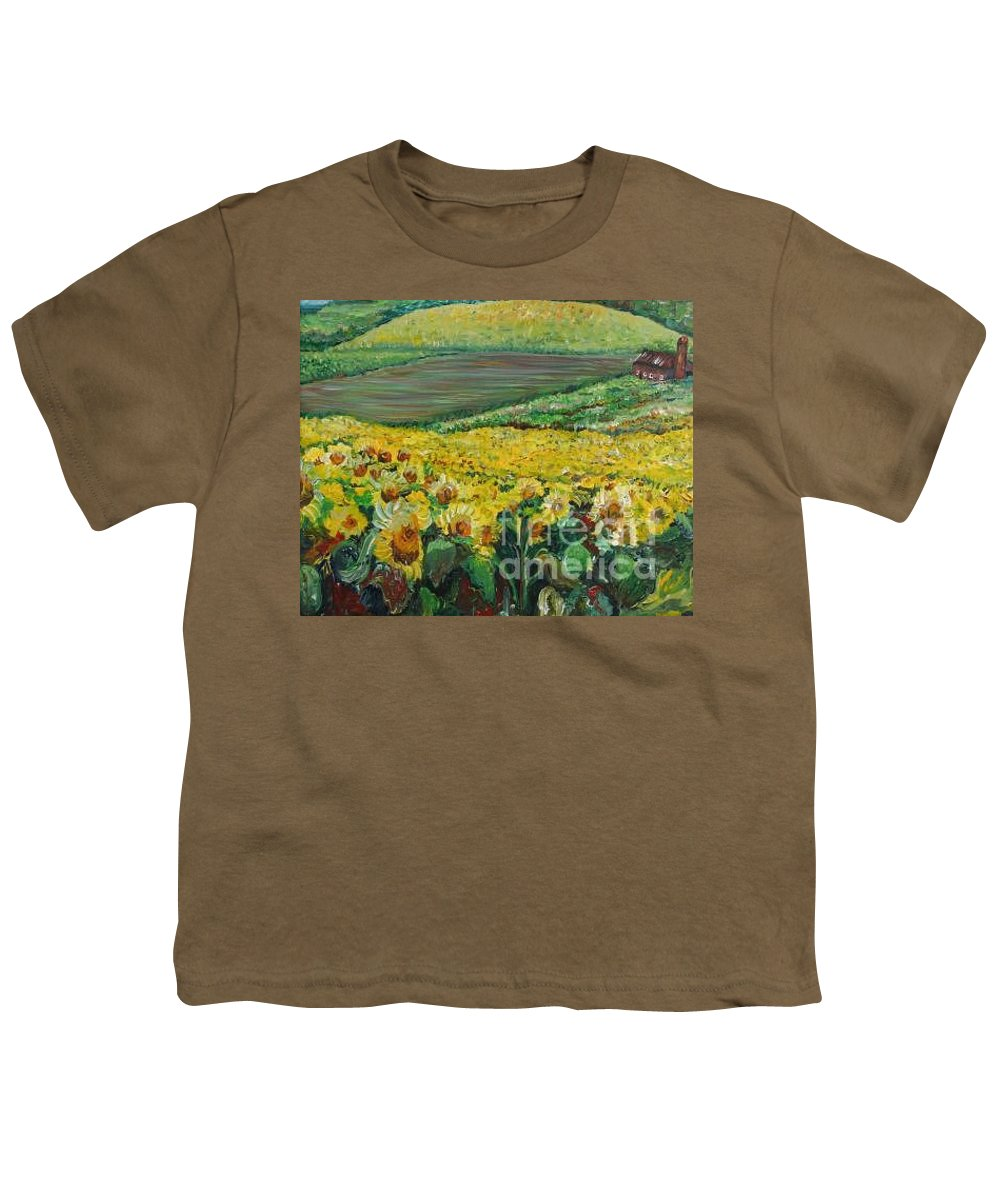 A Field Of Yellow Sunflowers Youth T-Shirt featuring the painting Sunflowers In Provence by Nadine Rippelmeyer
