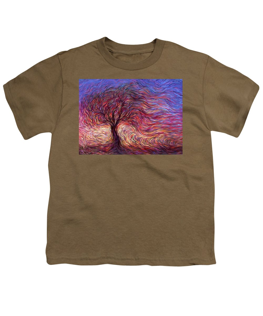Tree Youth T-Shirt featuring the painting Sunset Tree by Hans Droog