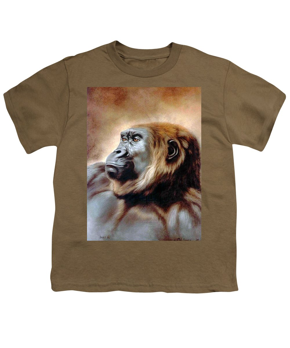 Gorilla Youth T-Shirt featuring the painting Suzie Q by Deb Owens-Lowe