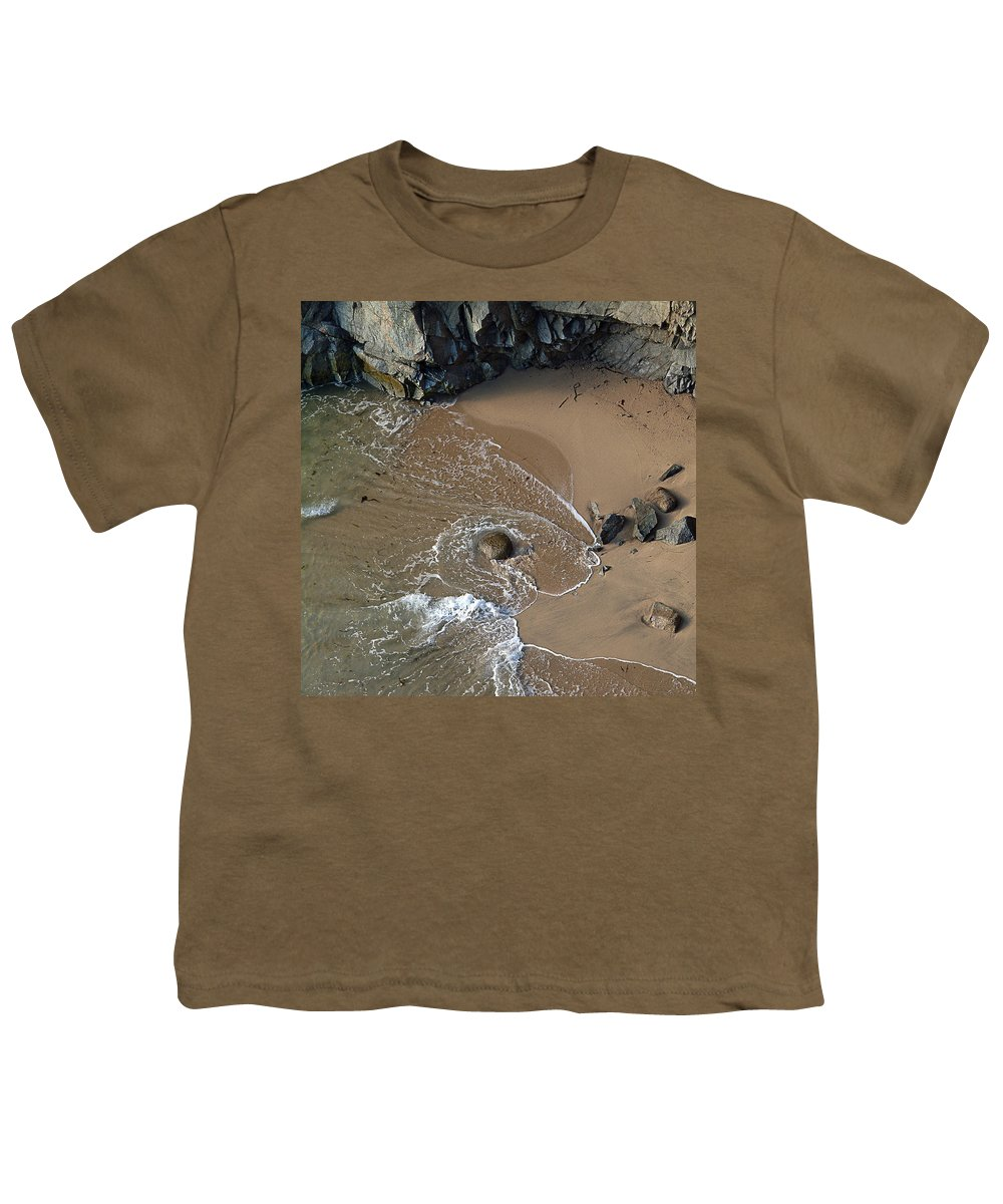 Big Sur Youth T-Shirt featuring the photograph Swirling Surf And Rocks by Charlene Mitchell