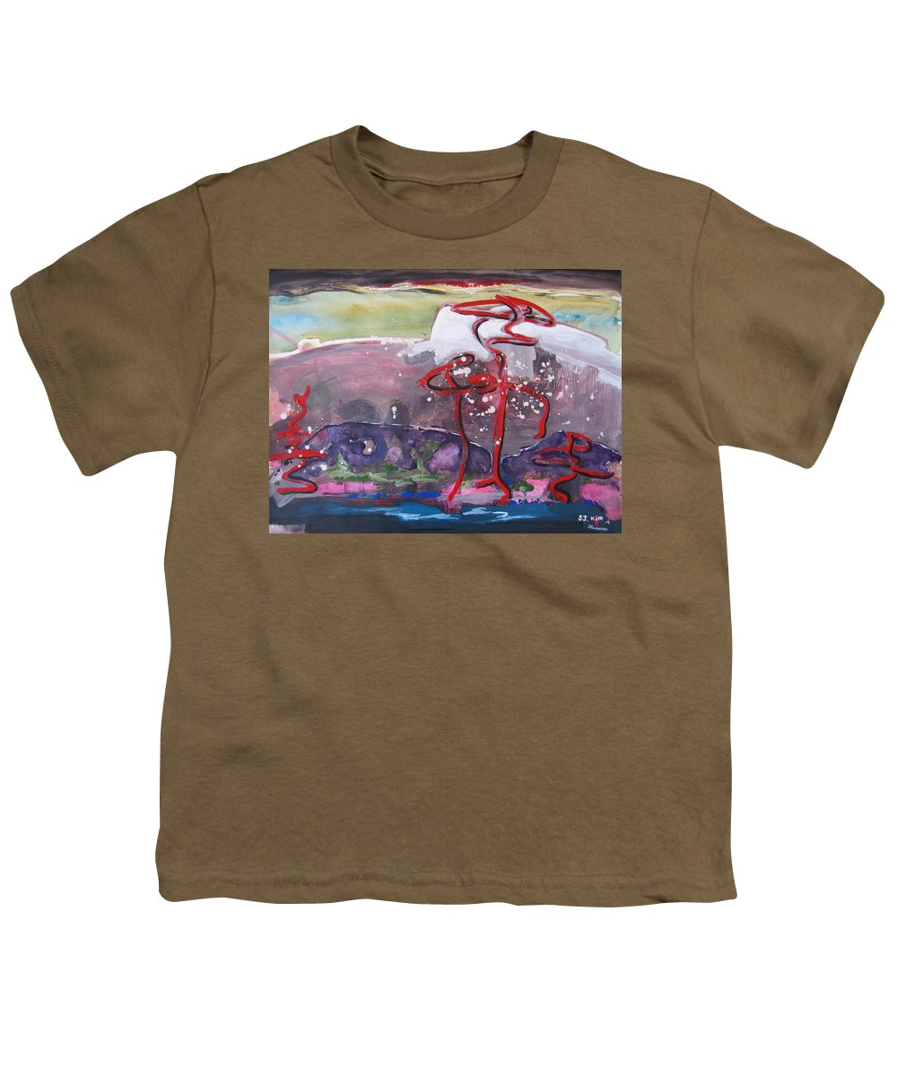 Abstract Paintings Youth T-Shirt featuring the painting Table Land3 by Seon-Jeong Kim