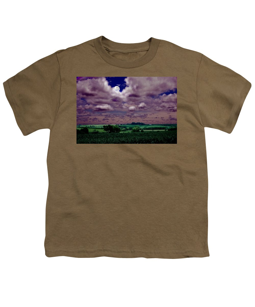 Landscape Youth T-Shirt featuring the photograph Tarkio Moon by Steve Karol