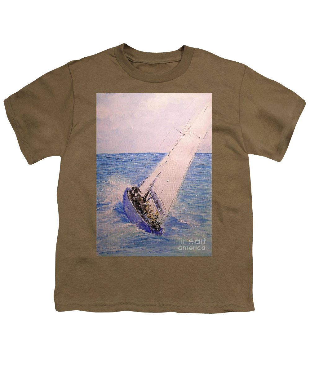 Seascape Youth T-Shirt featuring the painting Tell Tails In The Wind by Lizzy Forrester