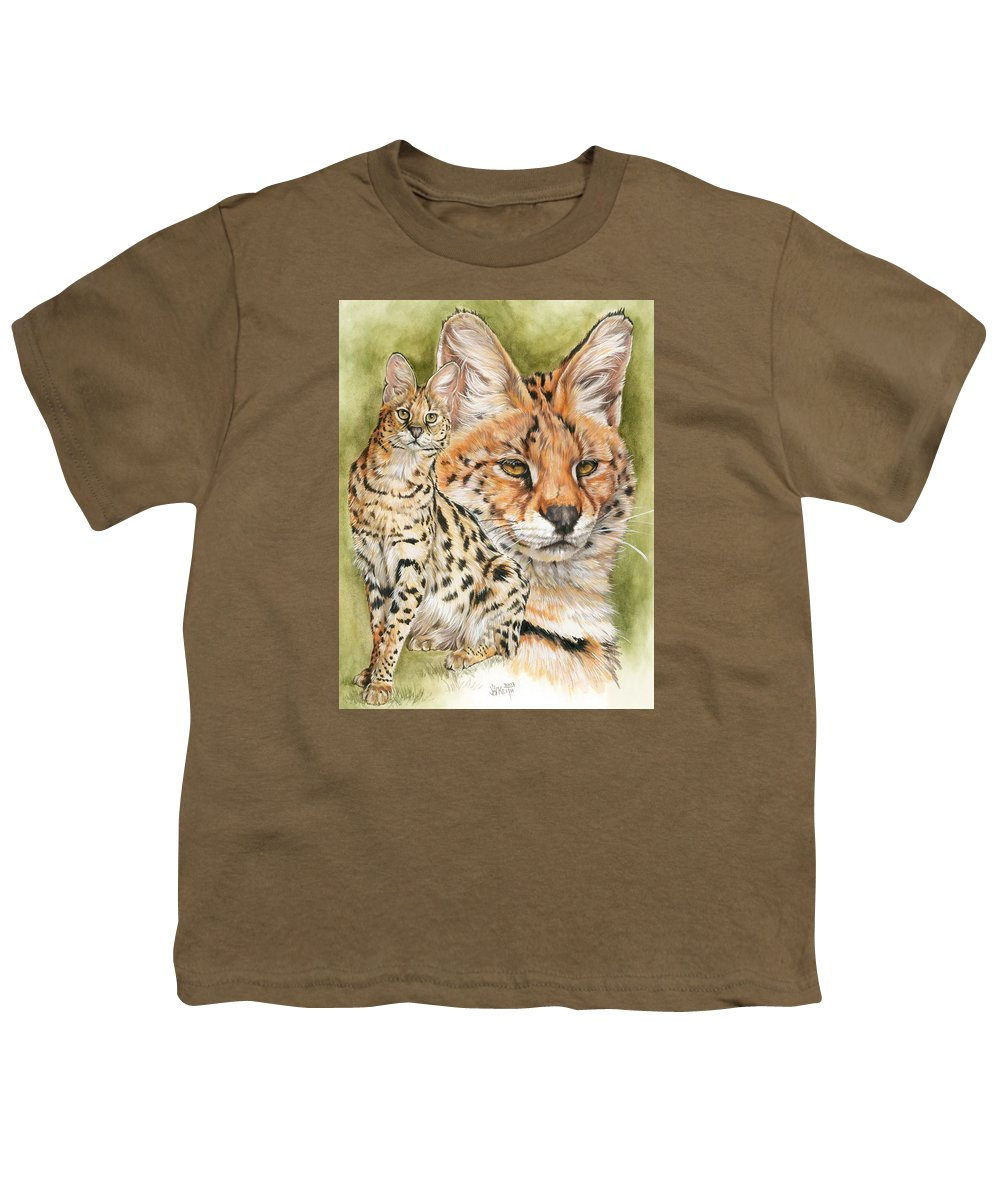 Serval Youth T-Shirt featuring the mixed media Tempo by Barbara Keith