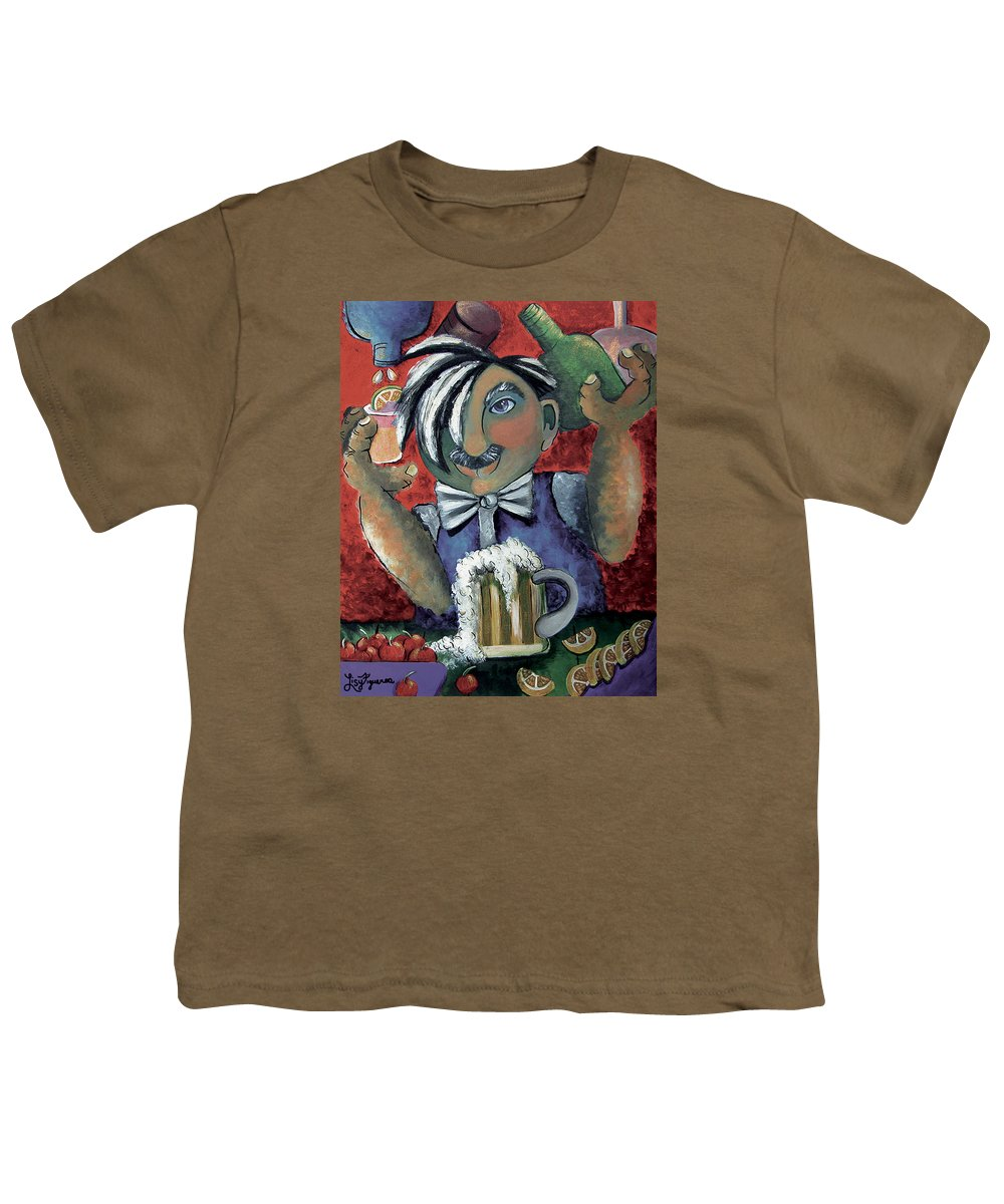 Bartender Youth T-Shirt featuring the painting The Bartender by Elizabeth Lisy Figueroa