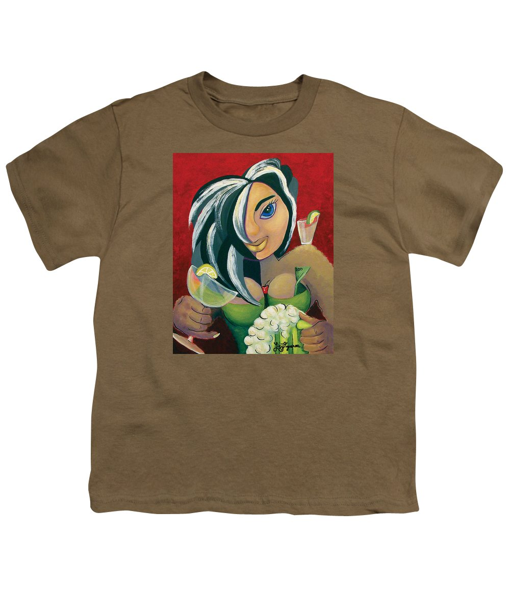 Bar Youth T-Shirt featuring the painting The Barwaitress by Elizabeth Lisy Figueroa