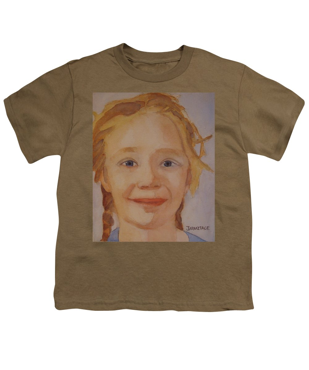 Partrait Youth T-Shirt featuring the painting The Blue-eyed Duckling by Jenny Armitage