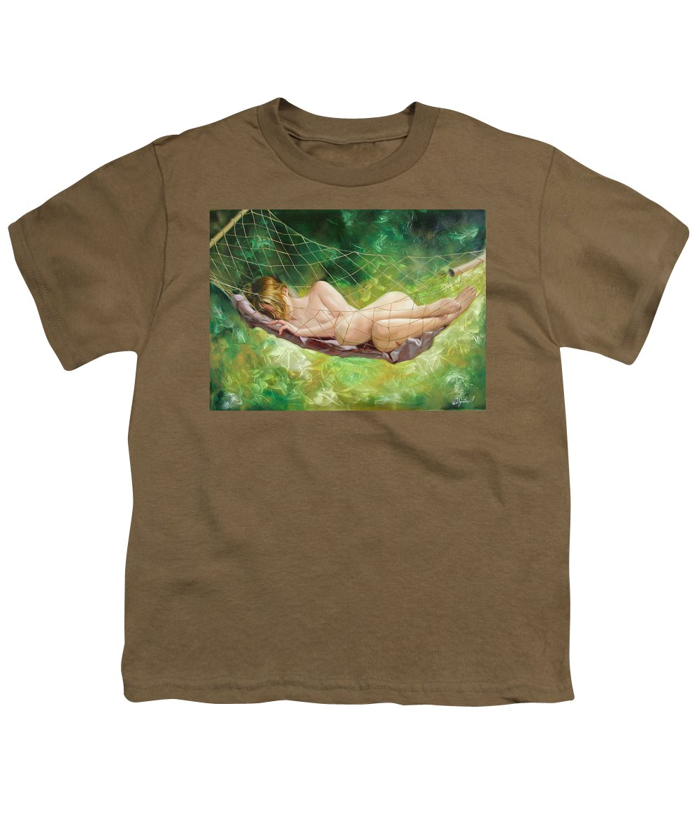 Oil Youth T-Shirt featuring the painting The Dream In Summer Garden by Sergey Ignatenko