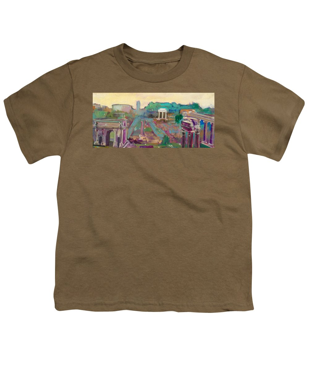 Rome Youth T-Shirt featuring the painting The Forum Romanum by Kurt Hausmann