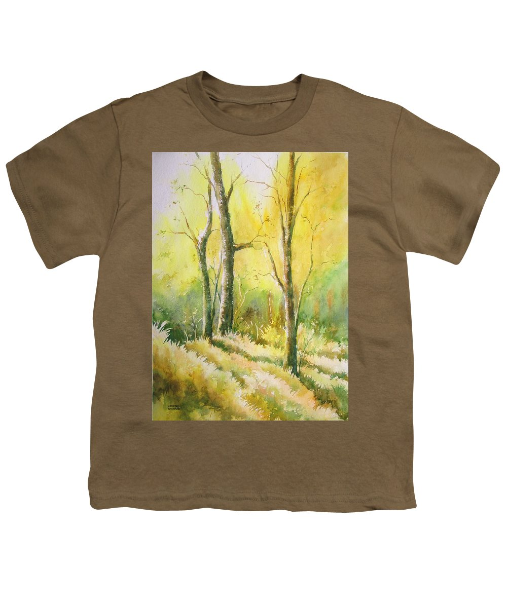 Landscapes Youth T-Shirt featuring the painting The Golden Trio by Sandeep Khedkar