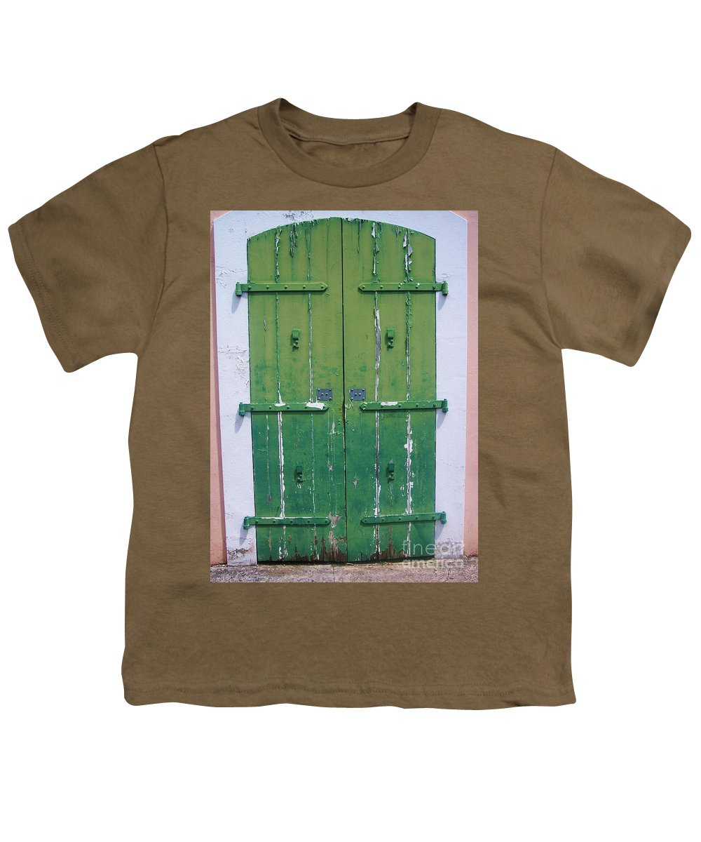 Architecture Youth T-Shirt featuring the photograph The Green Door by Debbi Granruth