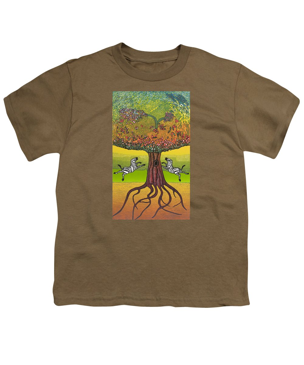 Landscape Youth T-Shirt featuring the mixed media The Life-giving Tree. by Jarle Rosseland
