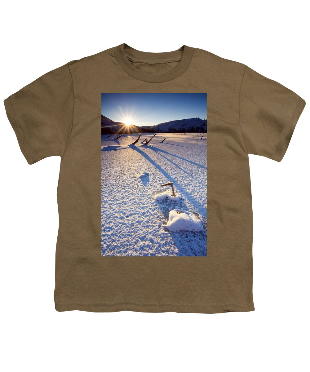 Sunrise Youth T-Shirt featuring the photograph The Long Shadows Of Winter by Mike Dawson