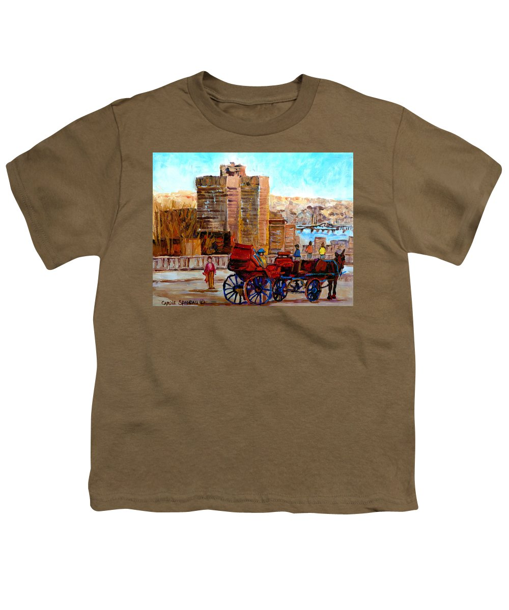 Montreal Street Scene Youth T-Shirt featuring the painting The Lookout On Mount Royal Montreal by Carole Spandau