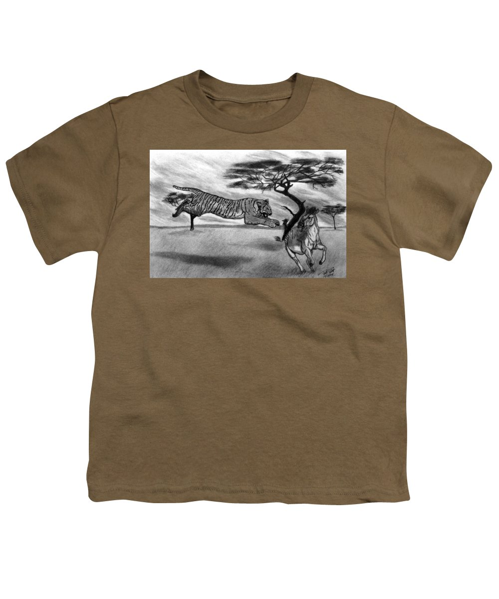 The Lunge Youth T-Shirt featuring the drawing The Lunge by Peter Piatt