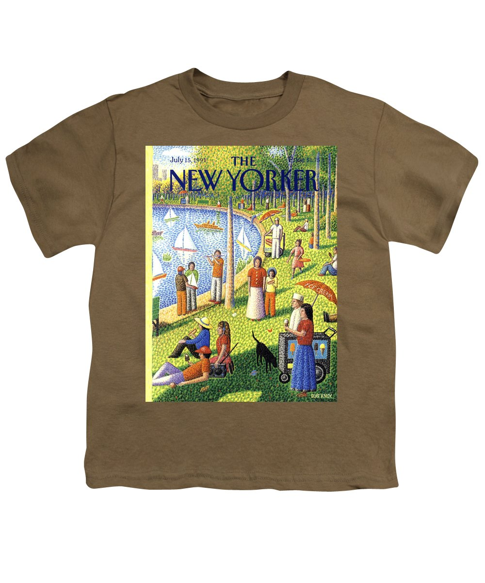 La Grande Jatte Youth T-Shirt featuring the painting The New Yorker July 15th, 1991 by Bob Knox