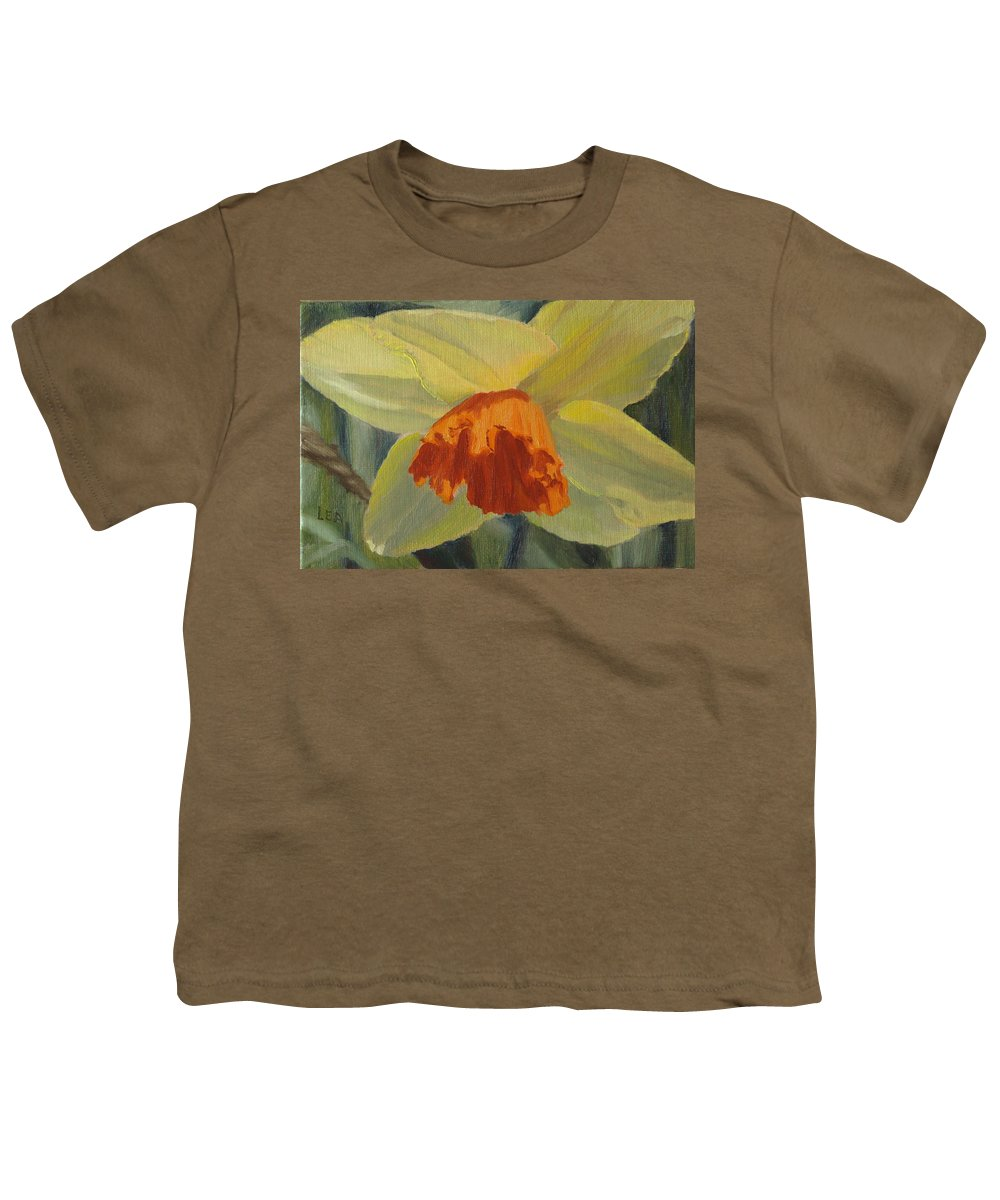 Flower Youth T-Shirt featuring the painting The Nodding Daffodil by Lea Novak