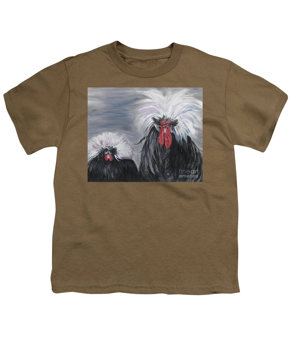 Odd Chickens With Wild Hair Youth T-Shirt featuring the painting The Odd Couple by Nadine Rippelmeyer
