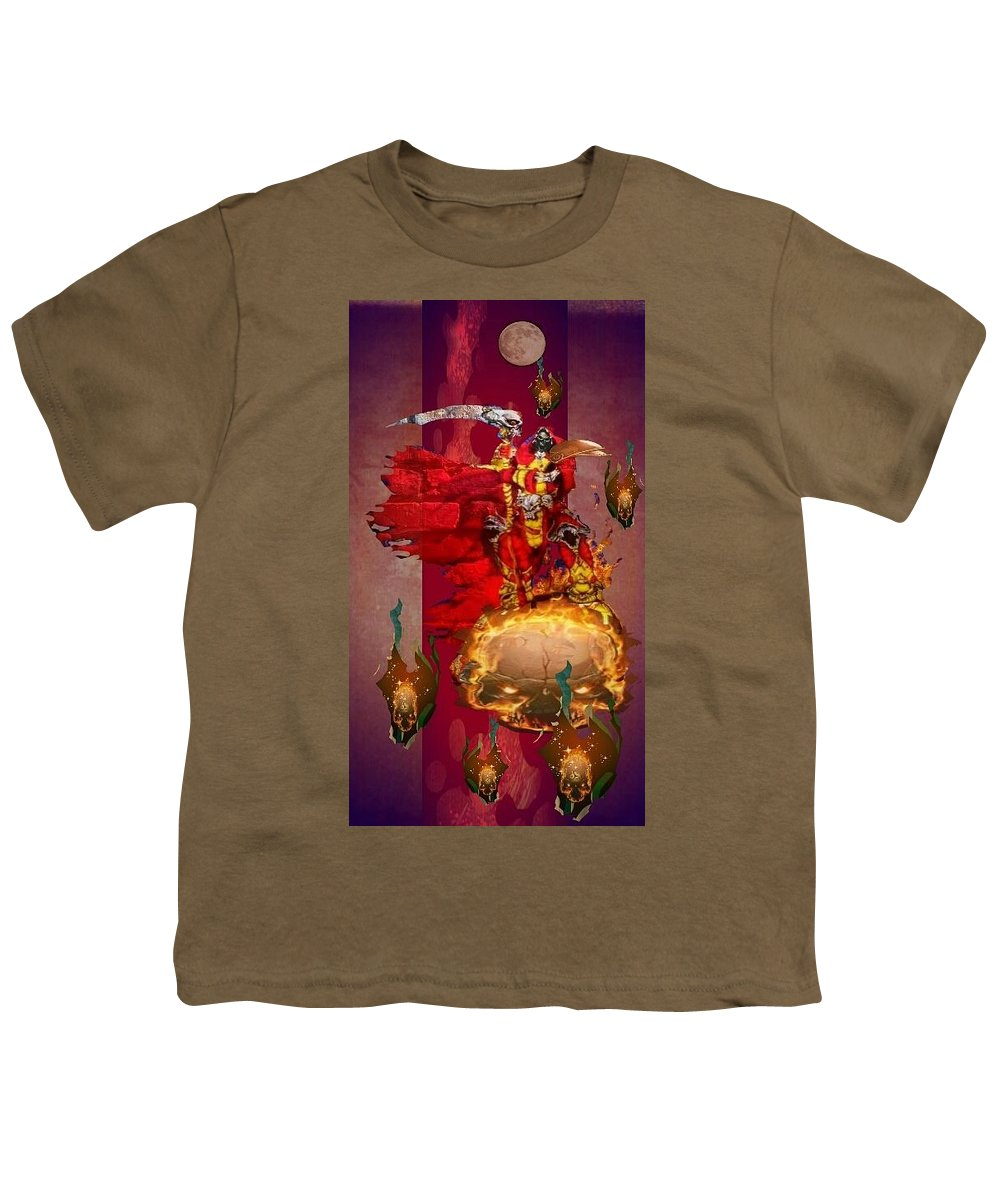 Fantasy Landscape Youth T-Shirt featuring the drawing The Reaper by Louis Williams