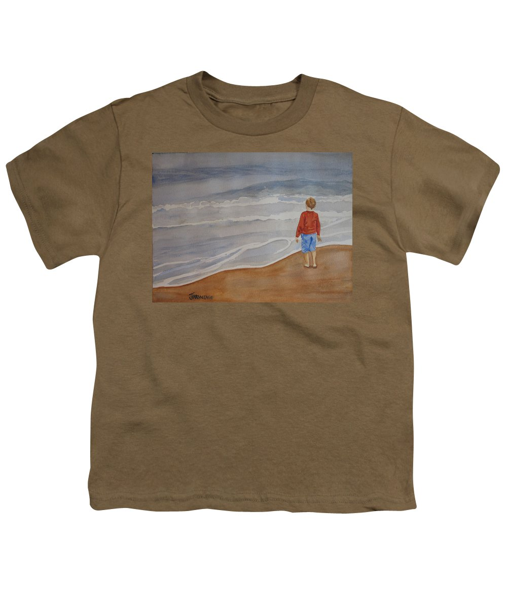 Boy Youth T-Shirt featuring the painting The Red Shirt by Jenny Armitage