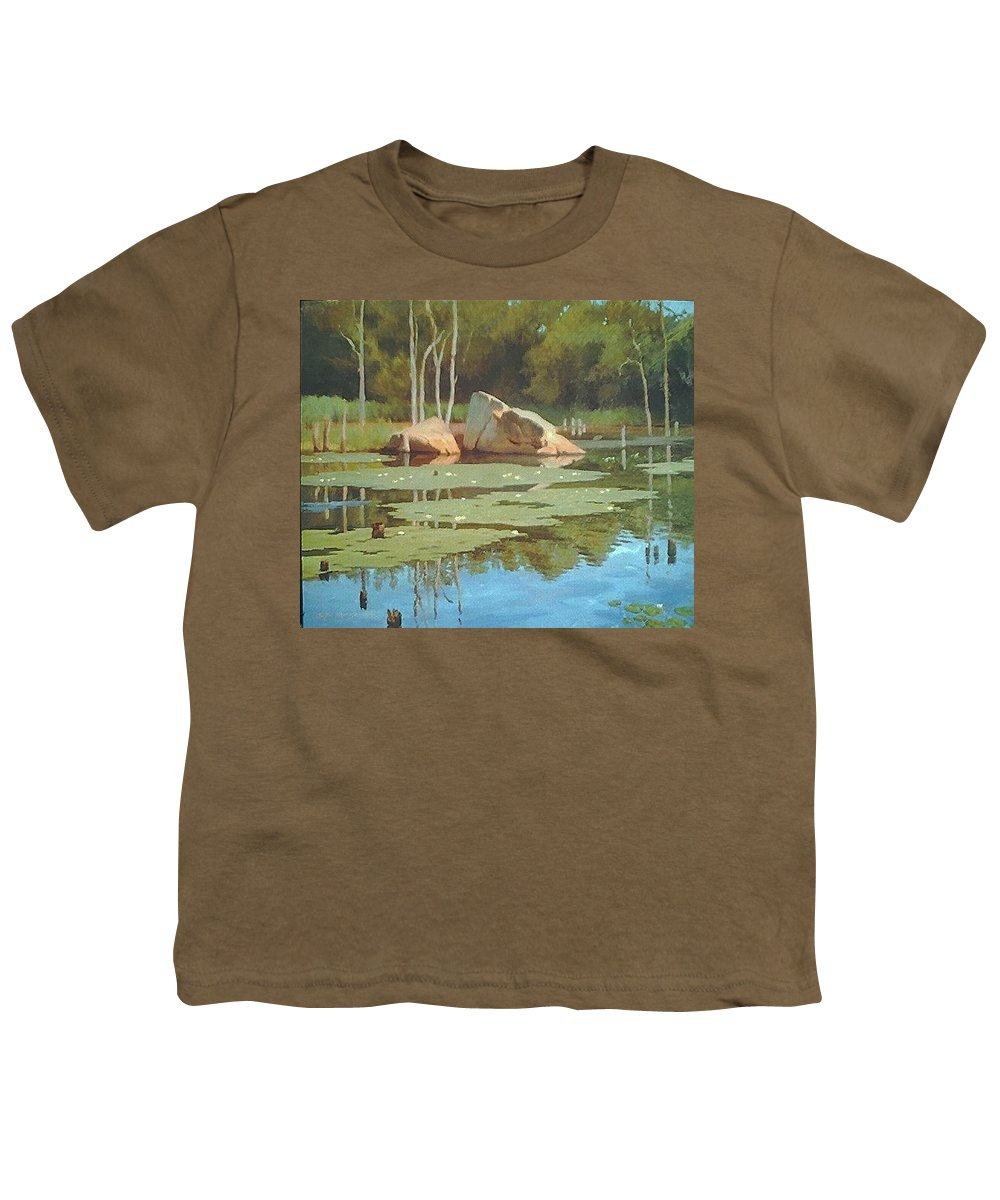 Landscape Youth T-Shirt featuring the painting The Rock by Dianne Panarelli Miller