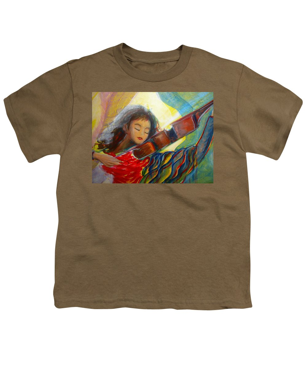 Violin Youth T-Shirt featuring the painting The Sweetest Sounds by Regina Walsh