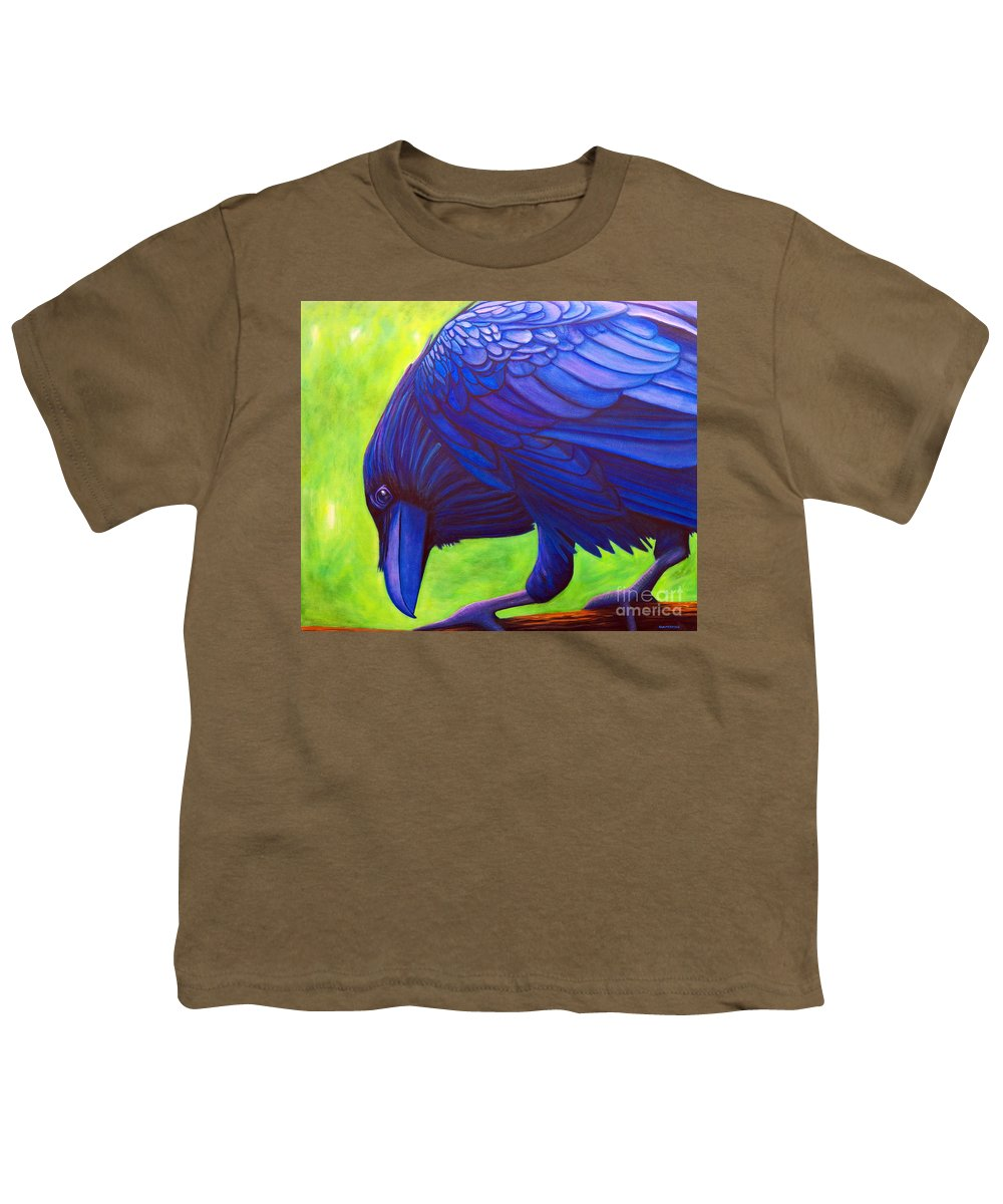 Raven Youth T-Shirt featuring the painting The Witness by Brian Commerford