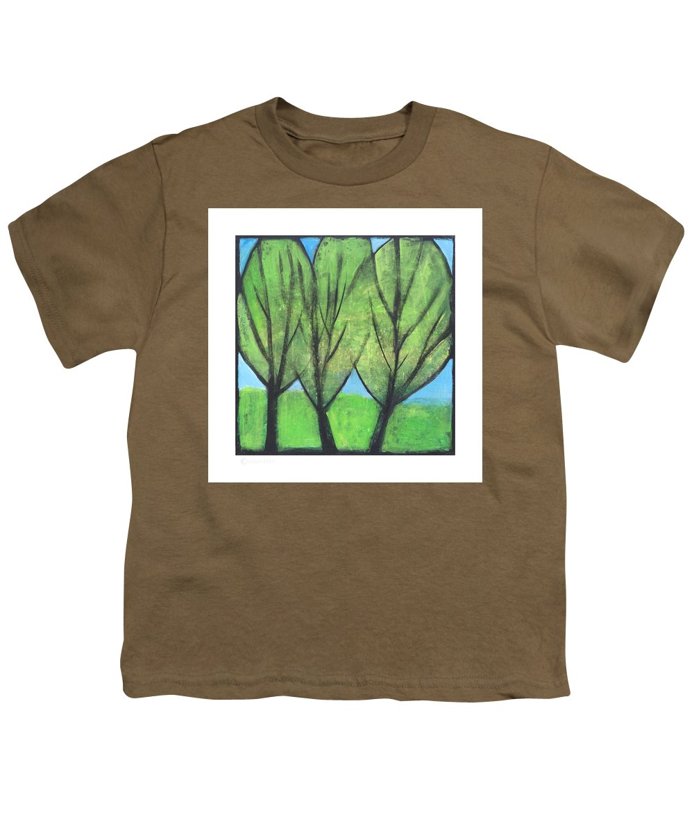 Trees Youth T-Shirt featuring the painting Three Sisters by Tim Nyberg