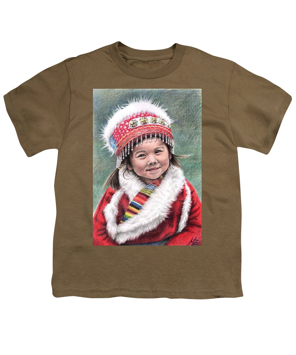 Girl Youth T-Shirt featuring the drawing Tibetan Girl by Nicole Zeug