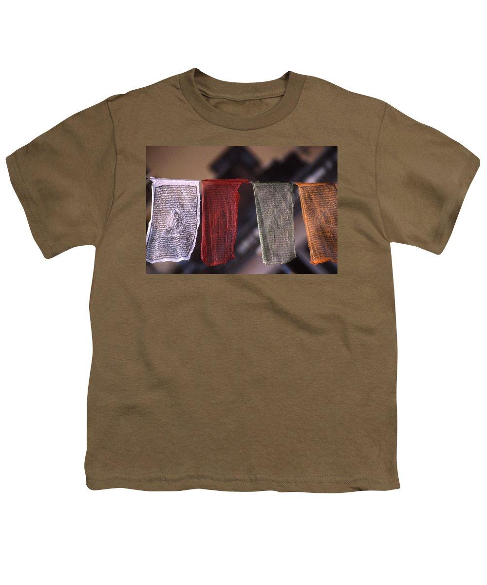 Prayer Flag Youth T-Shirt featuring the photograph Tibetan Prayer Flags by Patrick Klauss