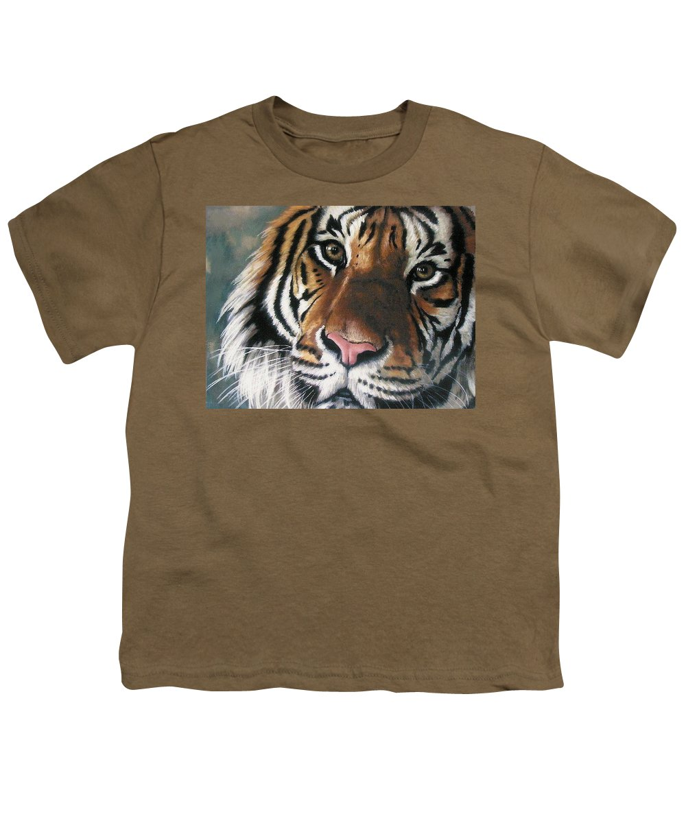 Tiger Youth T-Shirt featuring the pastel Tigger by Barbara Keith