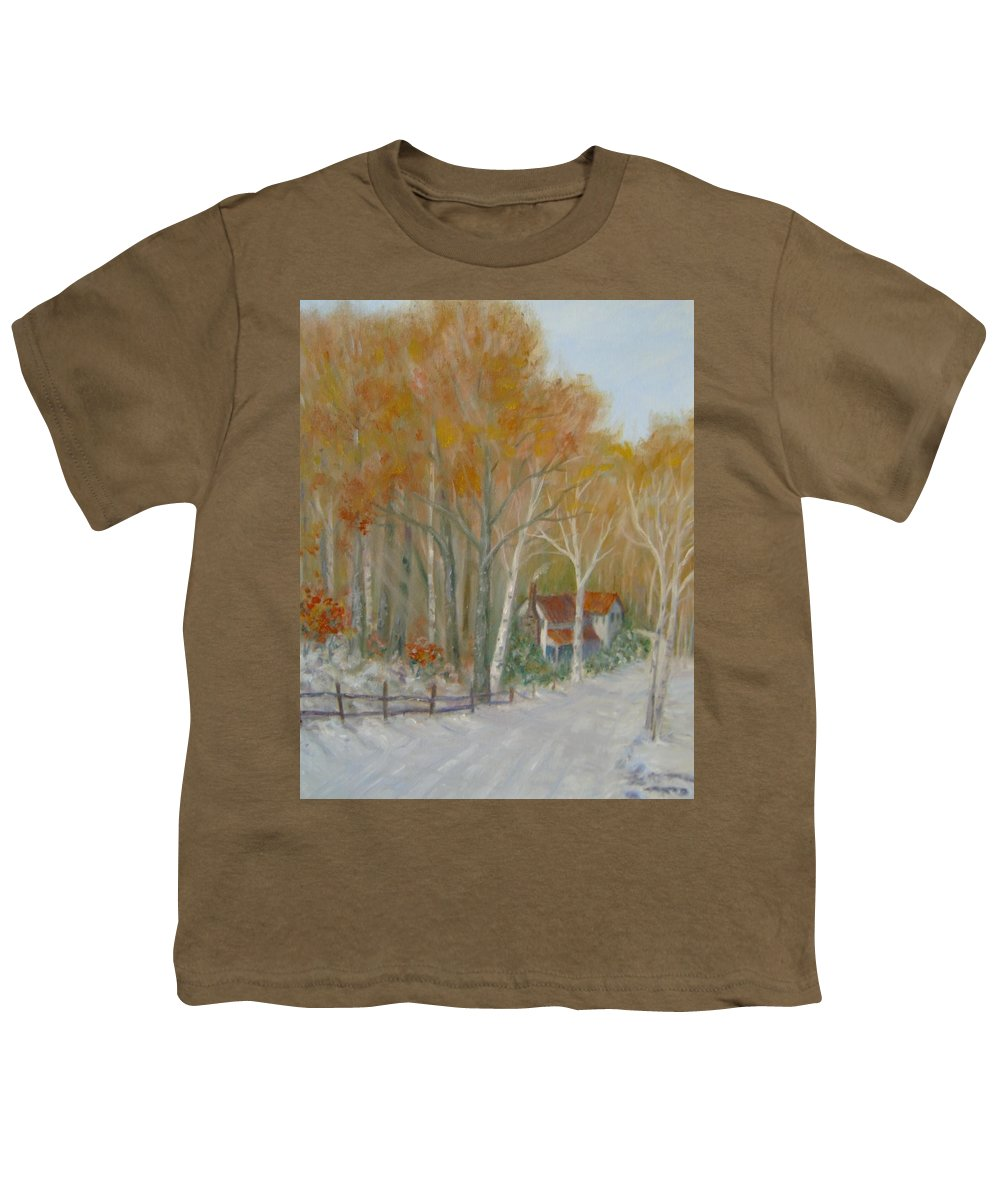 Country Road; House; Snow Youth T-Shirt featuring the painting To Grandma's House by Ben Kiger