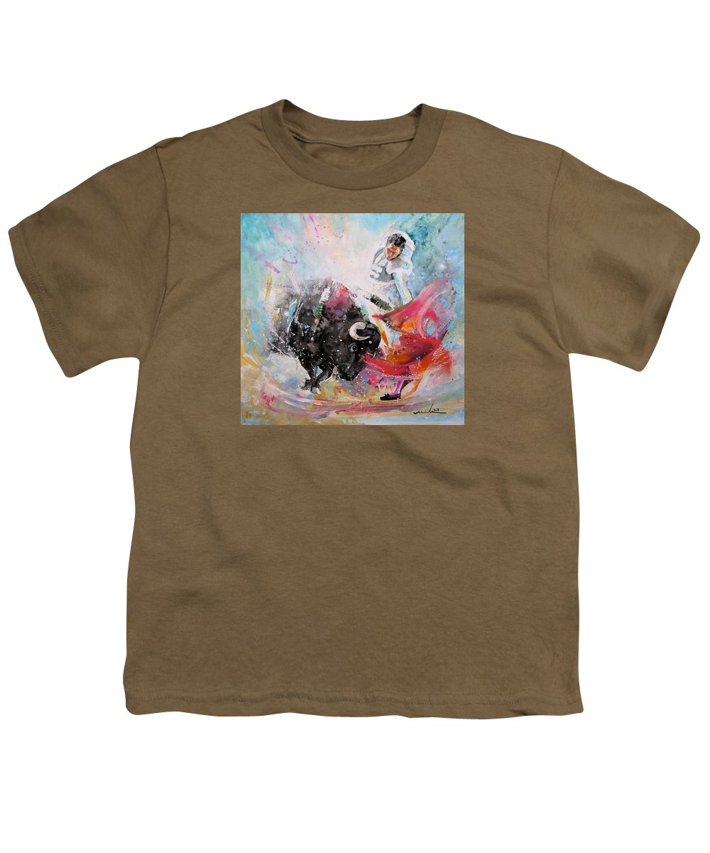 Animals Youth T-Shirt featuring the painting Toro Tempest by Miki De Goodaboom