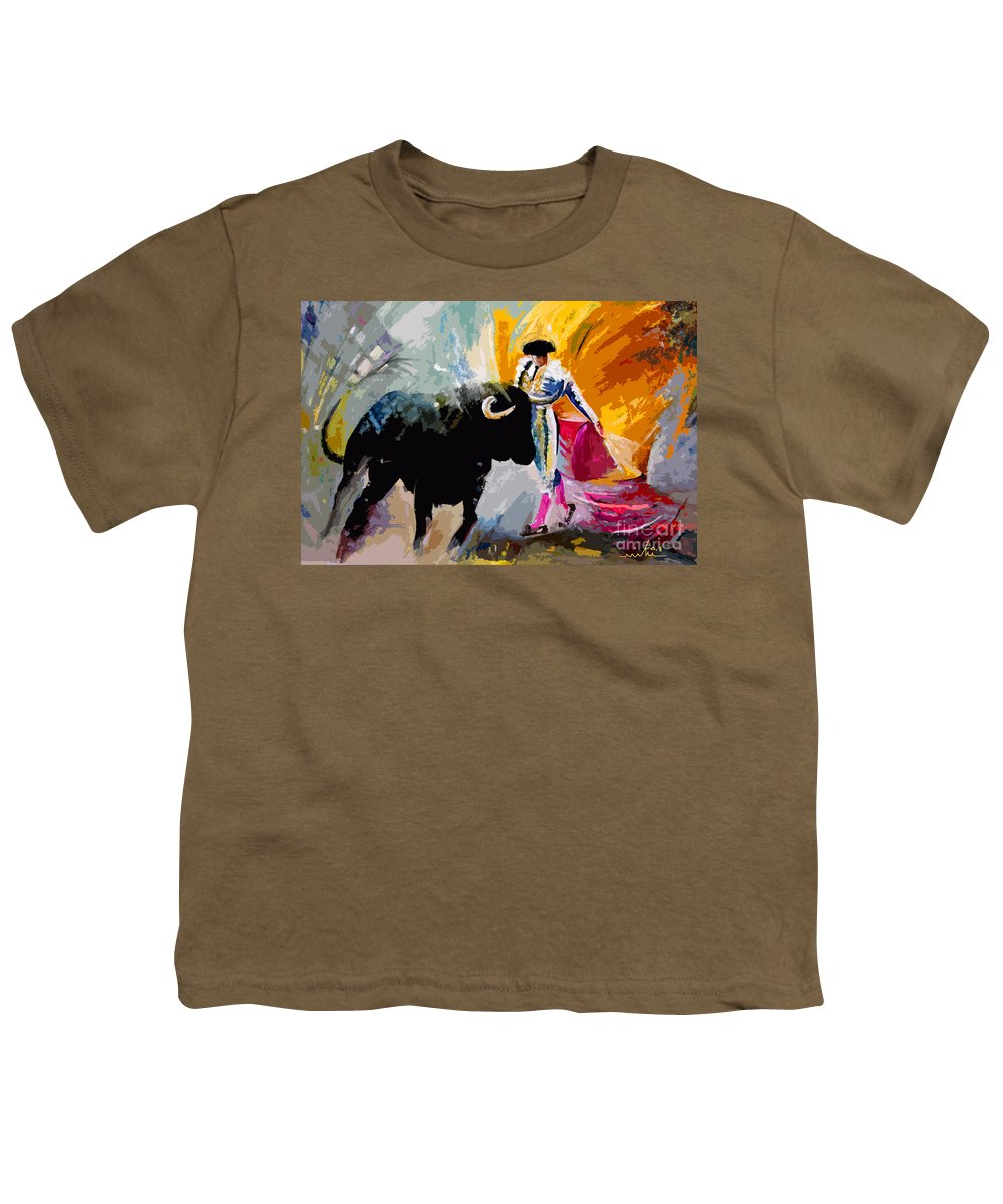Toros Youth T-Shirt featuring the mixed media Toroscape 03 by Miki De Goodaboom