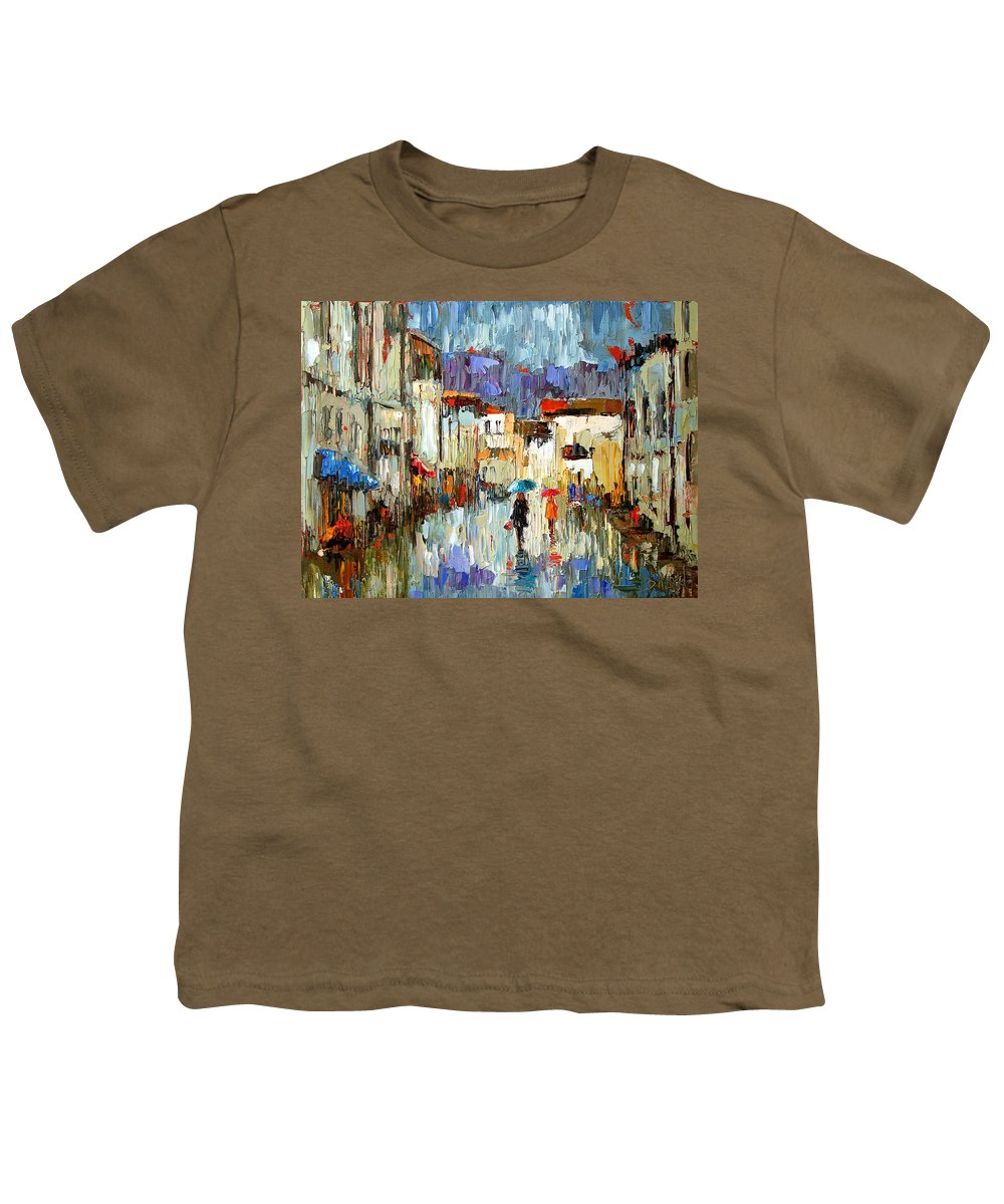 Landscape Youth T-Shirt featuring the painting Tourists by Debra Hurd