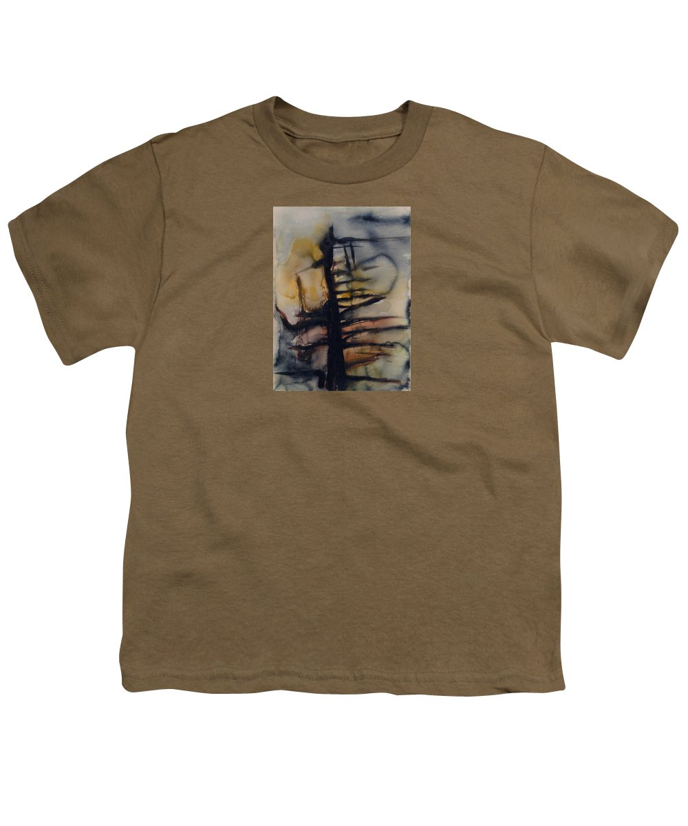 Tree Abstracted Original Watercolor Silhouette Open Branches Limbs Trees Youth T-Shirt featuring the painting Tree Series Vi by Leila Atkinson