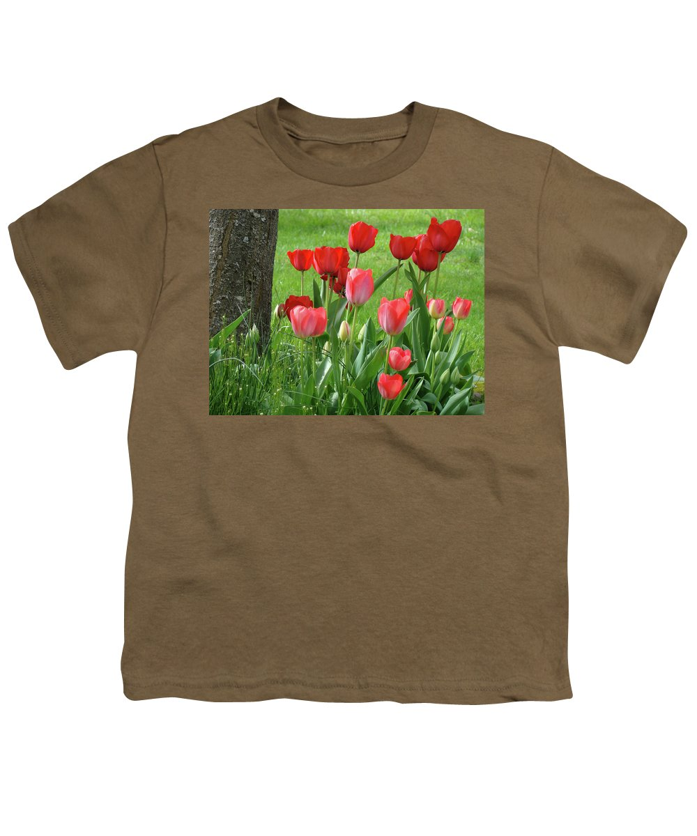 �tulips Artwork� Youth T-Shirt featuring the photograph Tulips Flowers Art Prints Spring Tulip Flower Artwork Nature Art by Baslee Troutman