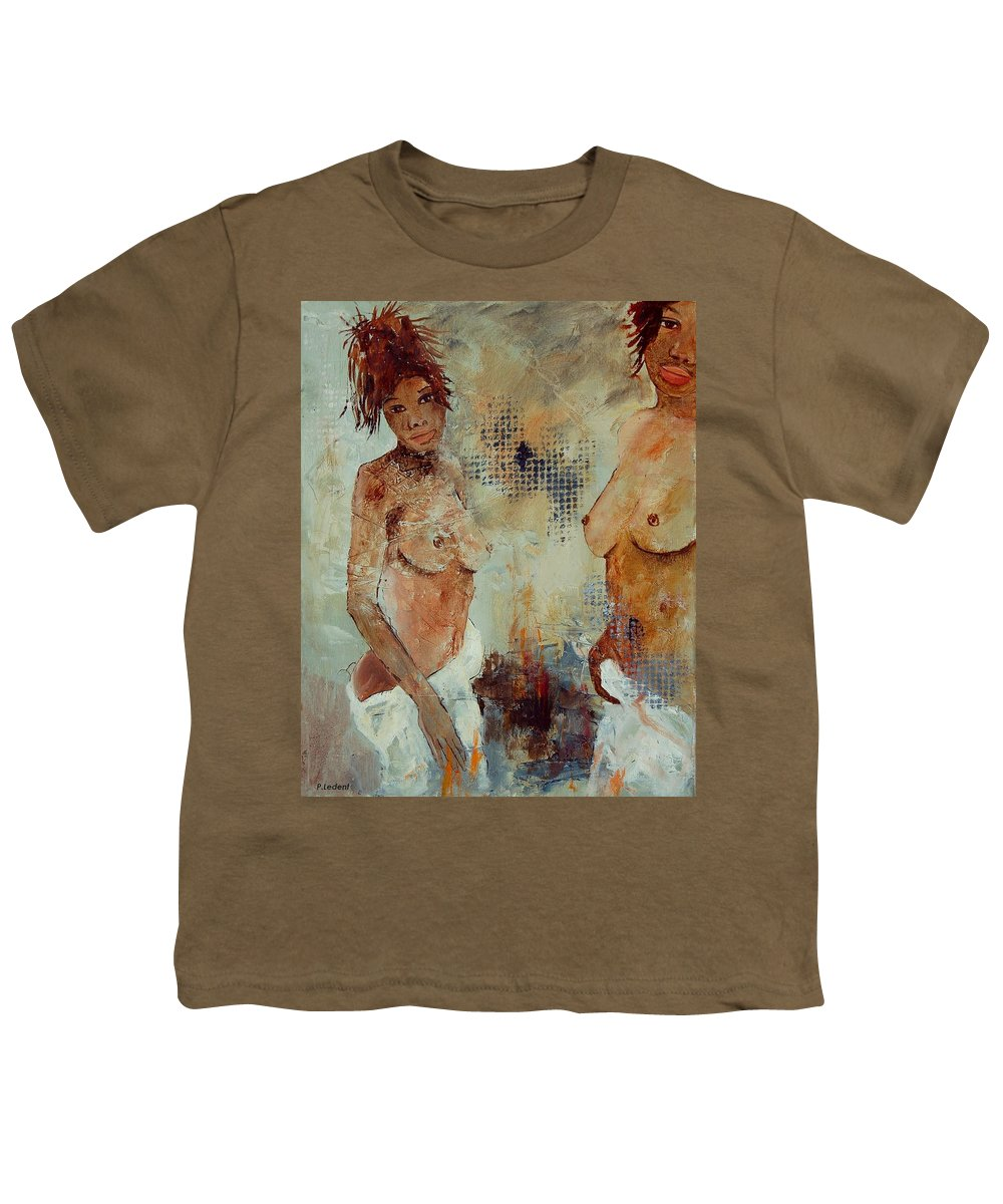Girl Nude Youth T-Shirt featuring the painting Two Black Sisters by Pol Ledent