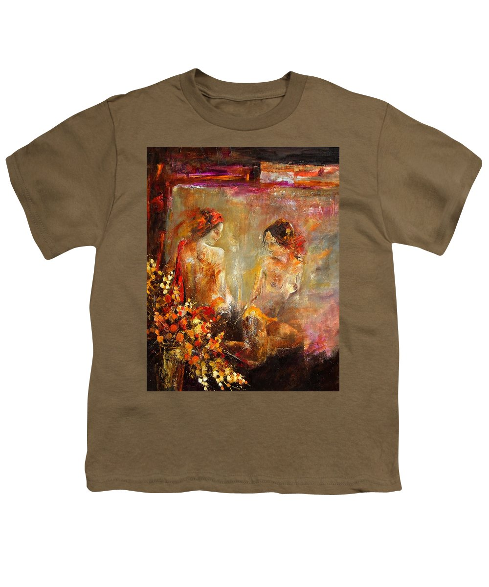 Girl Nude Youth T-Shirt featuring the painting Two Nudes by Pol Ledent