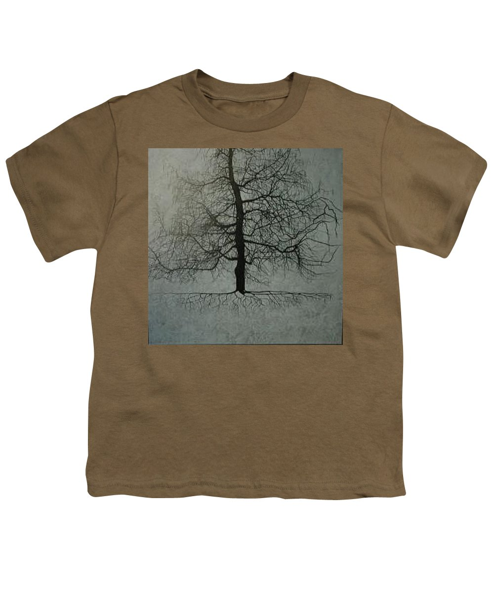 Silhouette Youth T-Shirt featuring the painting Untitled Blue by Leah Tomaino