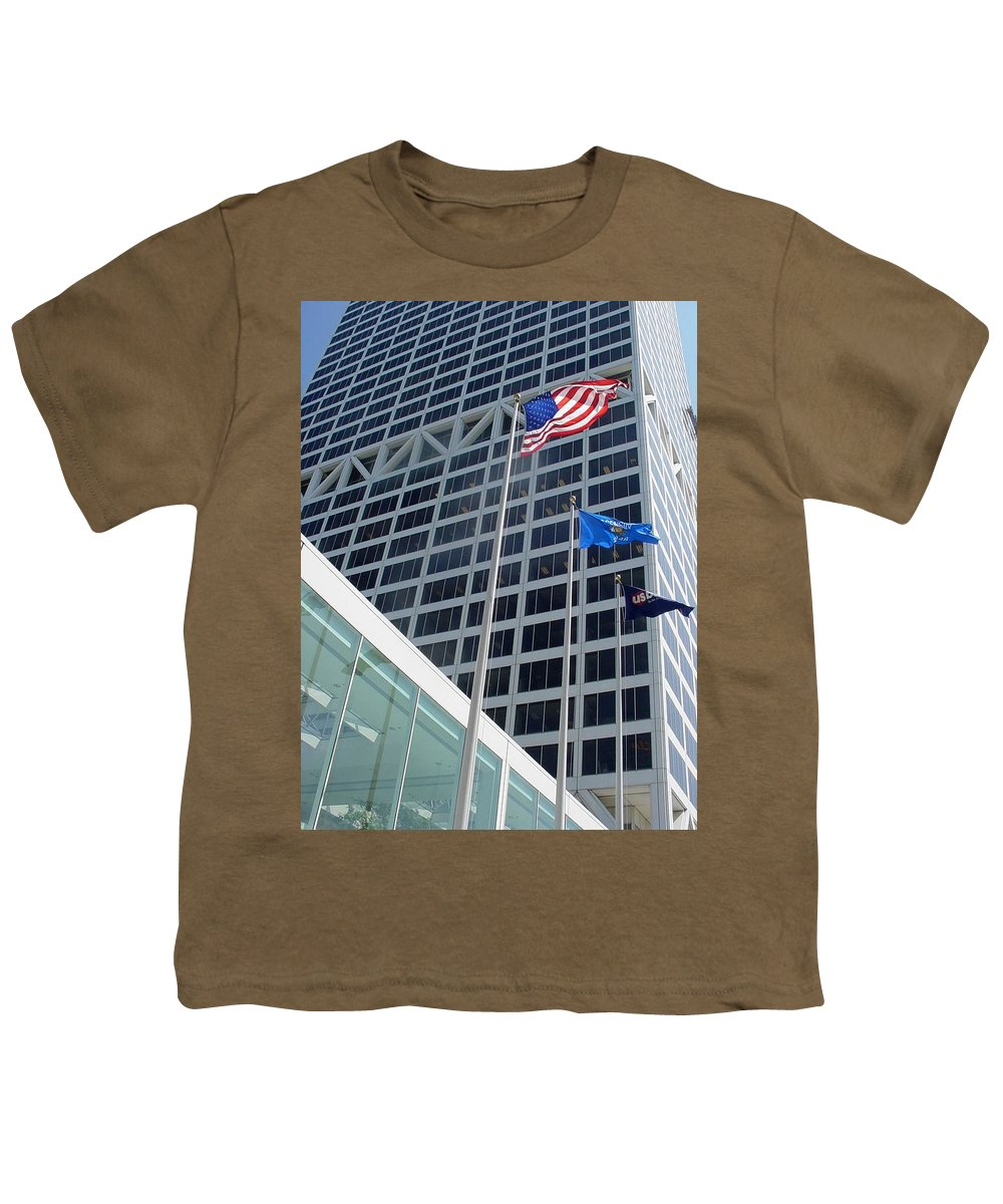 Us Bank Youth T-Shirt featuring the photograph Us Bank With Flags by Anita Burgermeister