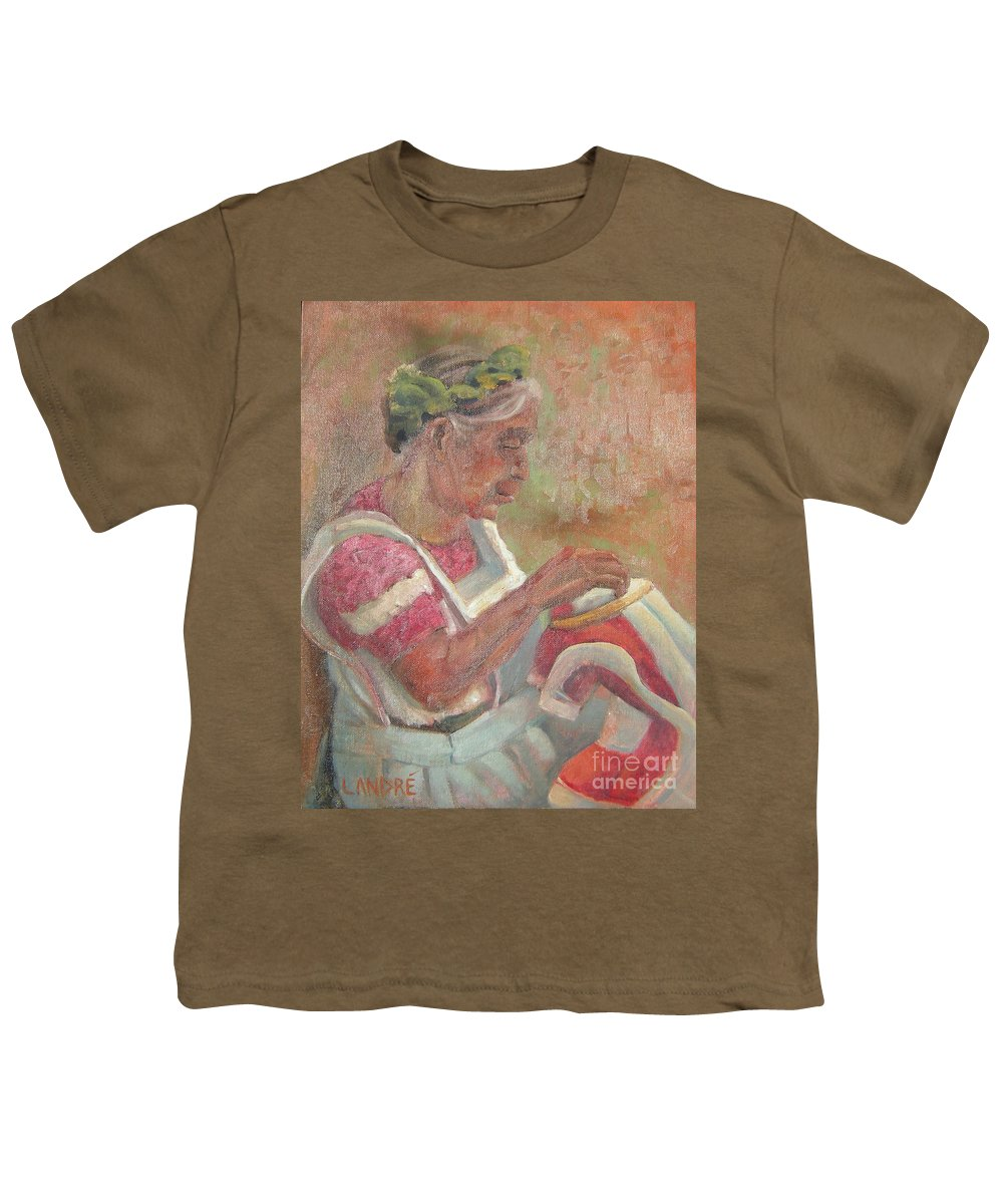 Mexican Youth T-Shirt featuring the painting Viejita Bordando by Lilibeth Andre