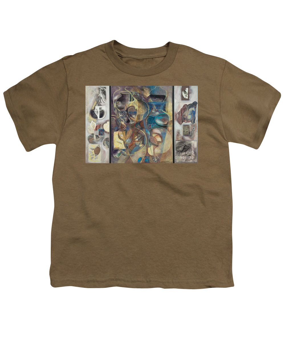 Vessels Youth T-Shirt featuring the painting Visible Traces by Kerryn Madsen-Pietsch