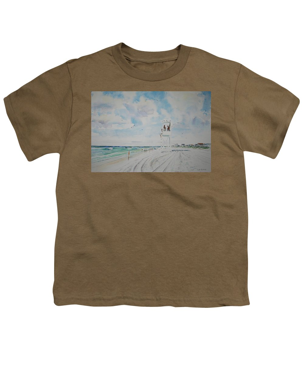 Ocean Youth T-Shirt featuring the painting Waiting For The Lifeguard by Tom Harris