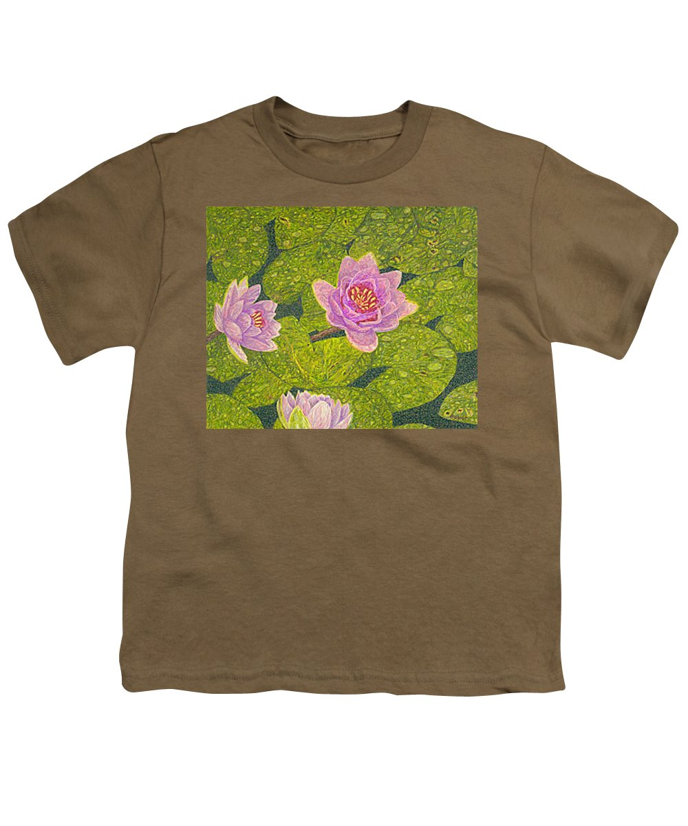 Water Lilies Youth T-Shirt featuring the drawing Water Lilies Lily Flowers Lotuses Fine Art Prints Contemporary Modern Art Garden Nature Botanical by Baslee Troutman