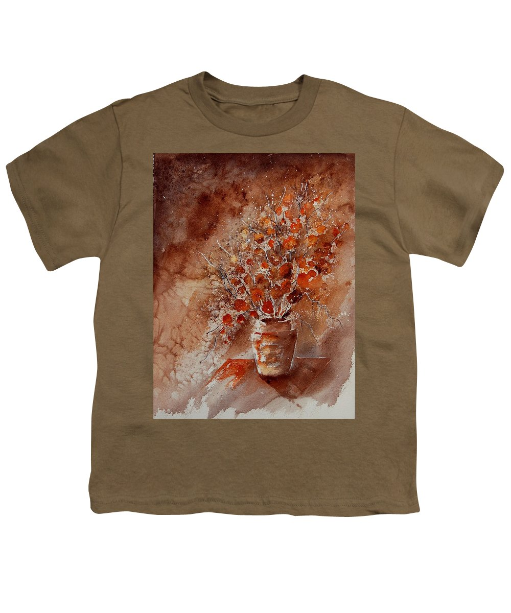 Poppies Youth T-Shirt featuring the painting Watercolor Autumn Bunch by Pol Ledent