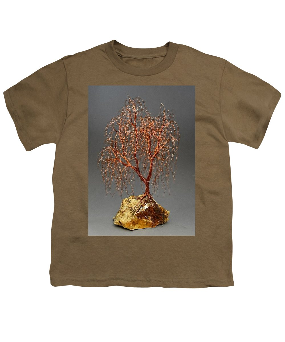 Weeping Willow Copper Wire Tree Art Sculpture 2263 Free Shipping Youth T Shirt For Sale By Omer Huremovic